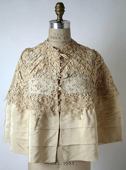 """Cape, Mme. Jeanne Paquin (French, 1869–1936) for the House of Paquin (French, 1891–1956): 1900's, French, silk.    Marking: [label] """"Paquin, Rue de la Paix 3, Paris - Londres"""""""