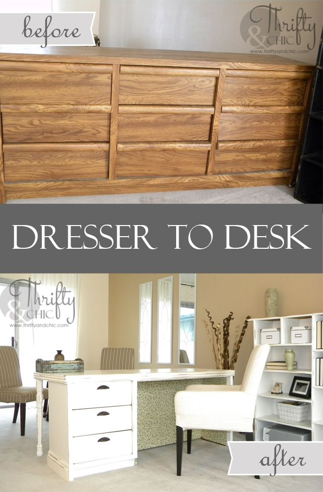 Dresser to desk makeover via Thrifty and Chic