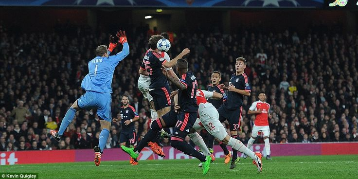 In the Champions League, Bayern Munich goalkeeper Manuel Neuer came for a Santi Cazorla free kick that he never looked likely to claim, leaving Giroud to turn the ball over the line from close range for Arsenal's first in a 2-1 win.