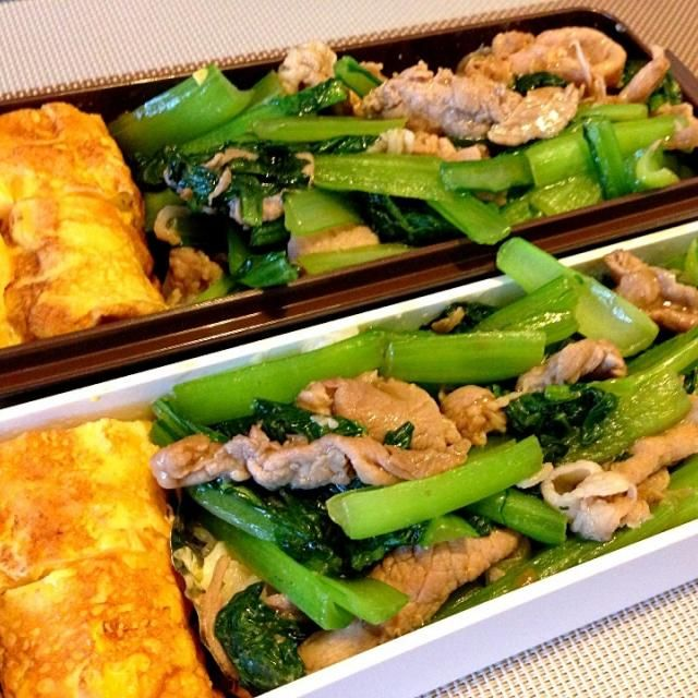 今日は手抜きだどーん(≖ლ≖๑ ) - 21件のもぐもぐ - お弁当♡豚肉とほうれん草のオイスターソース炒め丼、コーン入り卵焼き by ウサコ