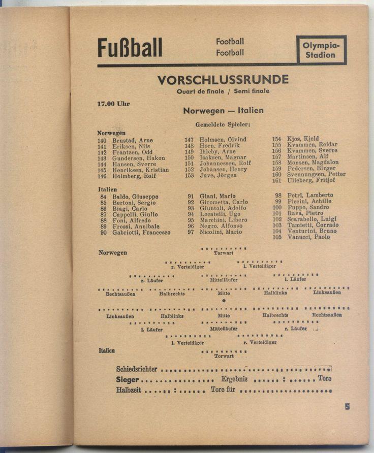 10.08.1936 Norway - Italy, Olympic Games Berlin 1936 - Daily Programme in Sports Memorabilia, Olympic Memorabilia, Berlin 1936 | eBay