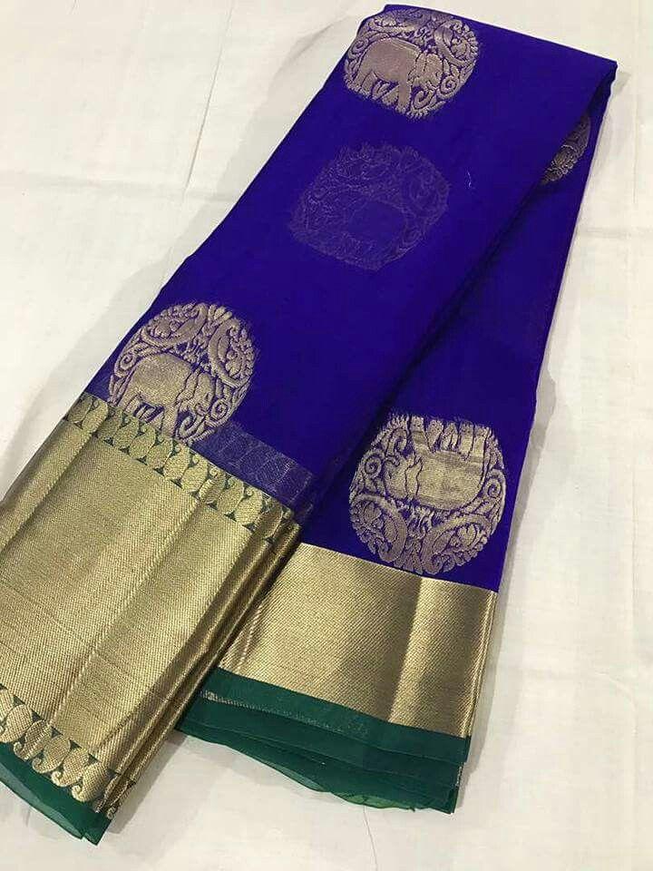 Pure Kanchi korasilk Sarees with contrast brocade blouse Price@6100 Order what's app 7995736811