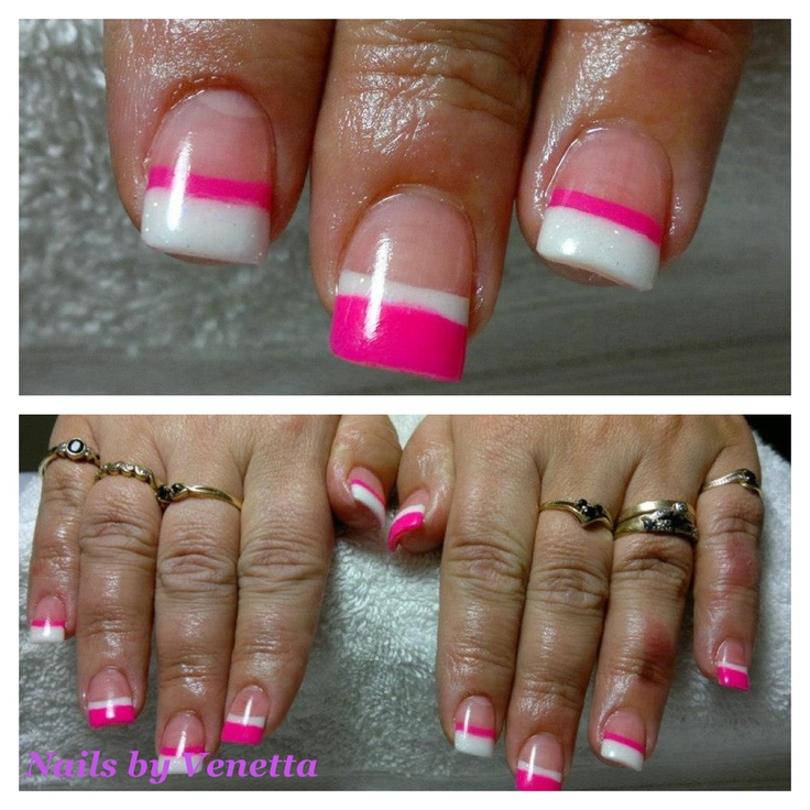 157 best acrylic nails by venetta images on pinterest french fluro pink and white french acrylic nails prinsesfo Images