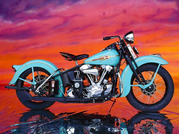 Harley Davidson: 1938 Harley-Davidson Knucklehead. [Desktop Wallpaper