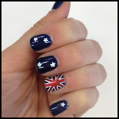 Australian Flag Manicure  http://primped.ninemsn.com.au/how-tos/hands-nails-how-tos/olympics-2012-how-to-do-an-australian-flag-manicure#