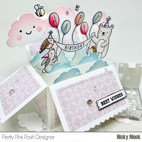 Birthday Scene - Pretty Pink Posh.  Card by Nicky Noo Cards #nickynoocards