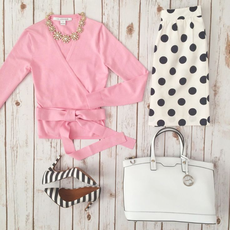 Pink ballerina wrap sweater, polka dot skirt, white purse and striped shoes   Spring outfit inspiration // Click the following link to see outfit details and photos:    http://www.stylishpetite.com/2015/03/instagram-lately.html