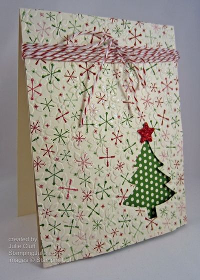 glittery paper Christmas tree card by juliestamps - Cards and Paper Crafts at Splitcoaststampers