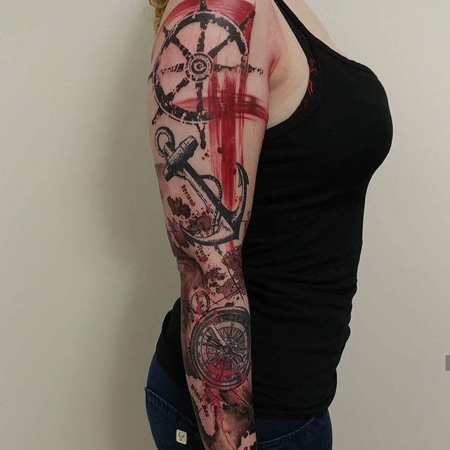 Anchor and compass themed sleeve #csabajoe #trashpolka #trashpolkatoronto #trashpolkatattoo #blackandred #tattoo #torontoart