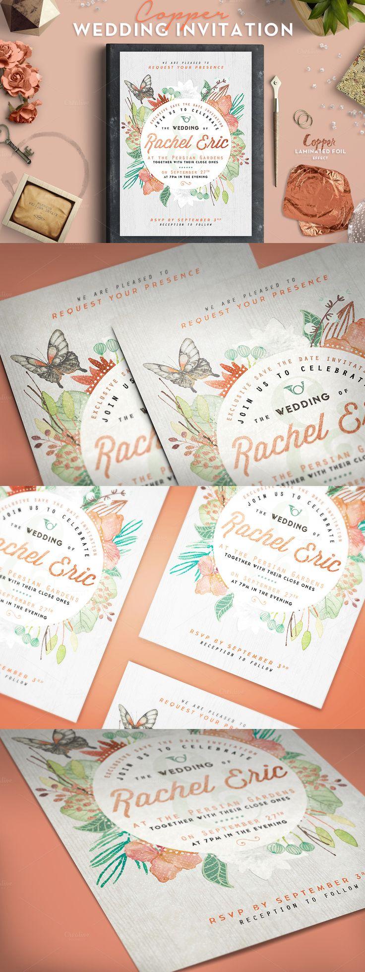 Copper Foil Wedding Invitation Template PSD design