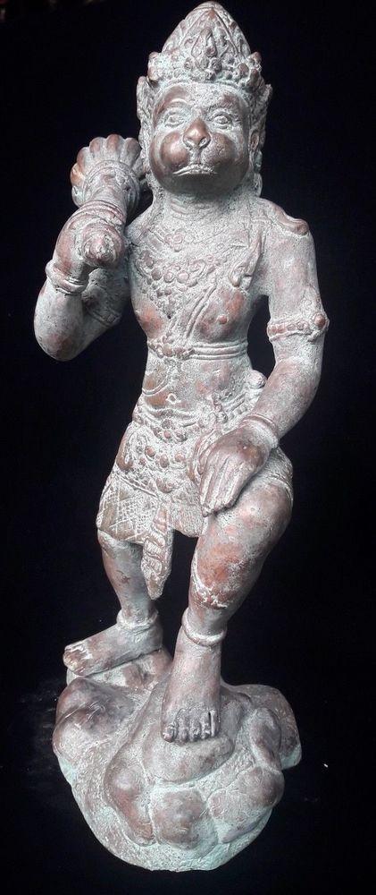 Balinese Hanoman Statue Gada weapon Bronze Brass Sculpture Spiritual Hindu Art
