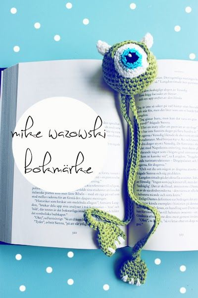 Crochet Monsters Inc bookmark. With patterns.