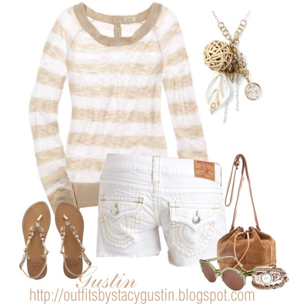 summer stripe, created by stacy-gustin: Summer Fashion, White Shorts, Dreams Closet, Style, Clothing, Summer Stripes, Summer Outfits, Polyvore, Summer Night