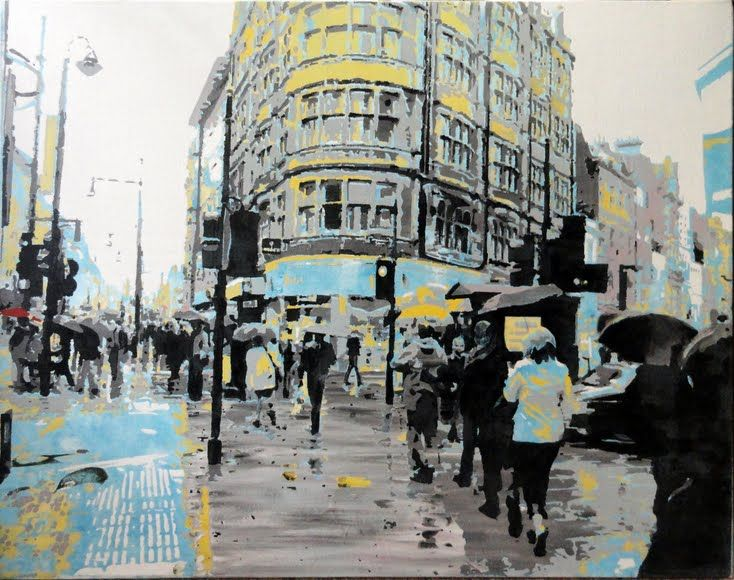Study for Rainy Day on Oxford Street, London by Sue Rowe