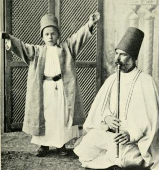 A neophyte Melevi Dervish while a master plays a ney (flute) PHOTO: vintage (uncredited)