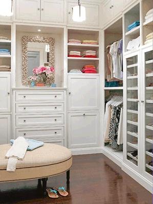 Dream closet (KEM: well lit, spacy, chair, big bins, shoe case).