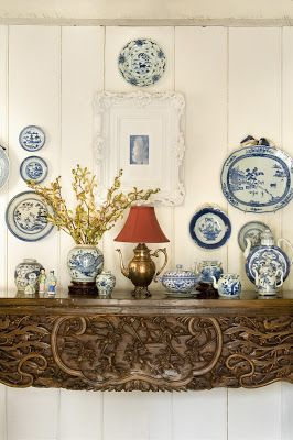 A beautiful uses of blue and white ceramics, interior by Judy O'Neil Labins