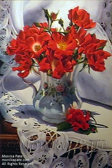 Red Roses and a Pitcher by Monika Pate Watercolor ~ 28 x 20