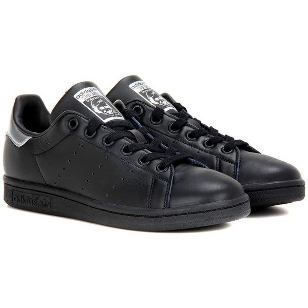 Adidas Originals Stan Smith Leather Sneakers ($110) ❤ liked on Polyvore featuring shoes, sneakers, black, kohl shoes, leather shoes, black trainers, leather sneakers and black leather trainers
