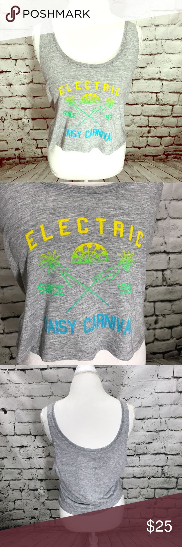 Electric Daisy Carnival Crop Top Electric Daisy Carnival Official Merchandise Crop Top. Gray with screen print yellow, blue, and green. Designed and printed in California. 100% cotton Electric Daisy Carnival Tops Crop Tops