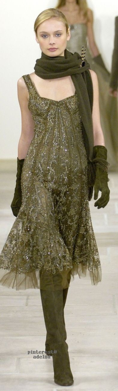 Ralph Lauren - love the look of gloves, scarf and boots with a frilly sleeveless dress.  How feminine!  You go Ralph!