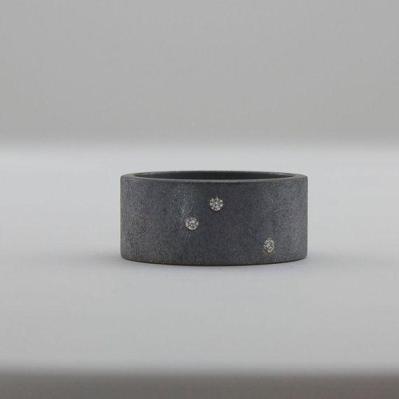 Scattered Diamond Ring - Alternative Wedding Band - Engagement Ring - Flush Set Diamonds - Starry Night Ring - Dark Rough Finish