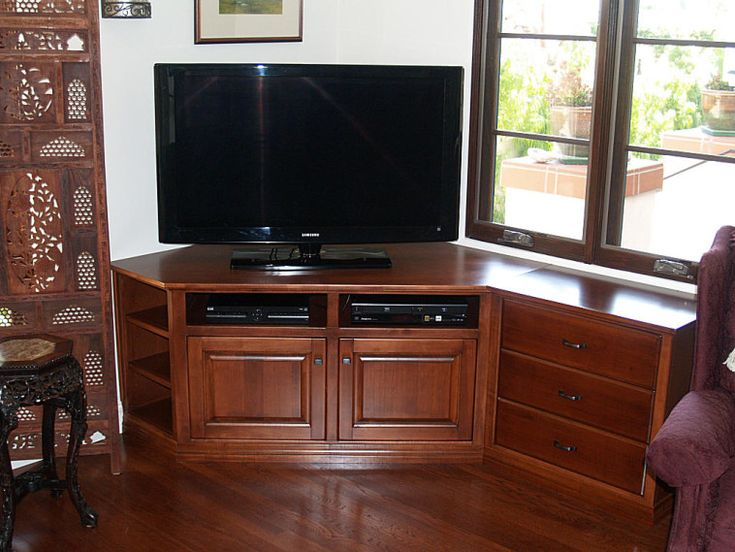 Customized Brown Varnished Oak Wood Media Console Table As Well As Corner Tv Cabinet  Plus Tv Table Stand Ikea