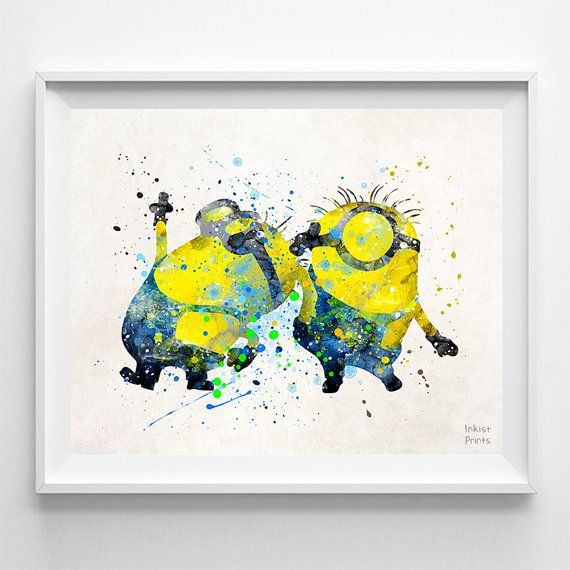 Despicable Me Print Two Minions Poster Minions by InkistPrints