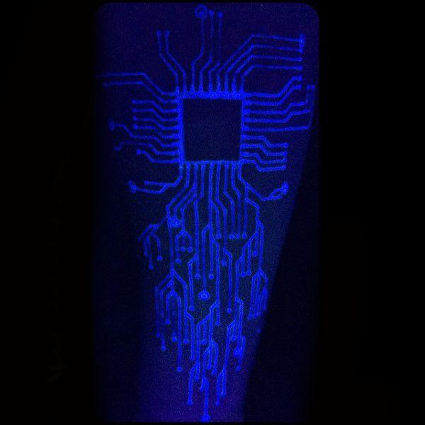 Guys Glowing Computer Chip Black Light Uv Ink Tattoo Design