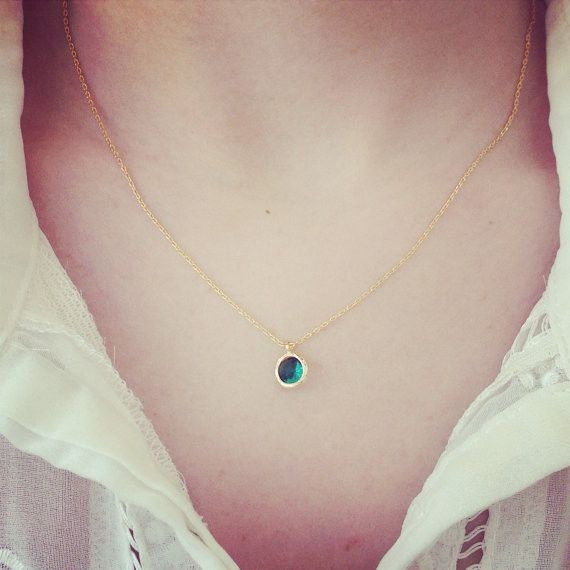 Tiny Round Birthstone Necklace