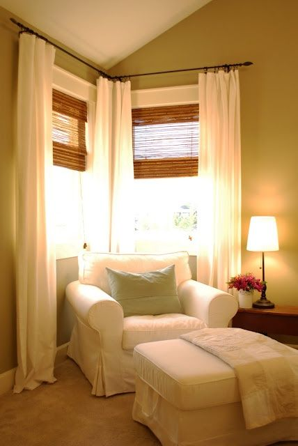 Bamboo wooden blinds with Ikea Lenda curtains.