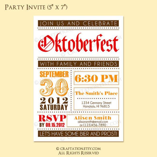 Custom Modern Vintage Retro OKTOBERFEST Party Invitation Invite Digital Design - Old Fashioned/Dots - Red/Orange or Blue/Brown - Printable. $16.00, via Etsy.