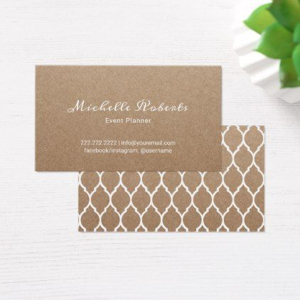 Event Planning Modern Script Rustic Kraft Business Card - minimalist office gifts personalize office cyo custom