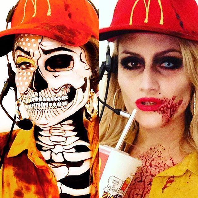 Whatever, McDonald's Drive-Thru Worker! - she lives in Litchtenstein Land / Zombie Land!🍔🍟Inspired by all the pop art makeup I have been seeing on Instagram lately @ellie35x @natalie_kirk_mua @luvekat @twistinbangs #popartmakeup #mcdonalds #skullface #skullmakeup #amazingmakeupart #dupemag #lichtenstein #popartmakeup #popart #cartoonmakeup #burger #lichtenstein #mcshit #undiscovered_muas #muaawesome #skulltress #argenapeede #kimberleymargarita_