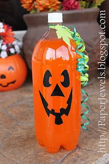 Orange soda bottle made into a pumpkin!Halloween Parties, Orange Sodas, Soda Bottles, Halloween Drinks, Parties Drinks, Cute Ideas, Jack O' Lanterns, Sodas Bottle, Spooky Halloween