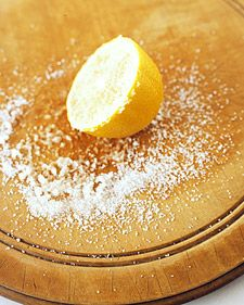 Need to clean that cutting board? Use a lemon.