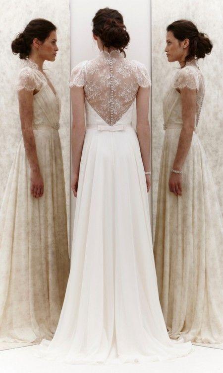Wedding gown ... flowy white dress ... beautiful back detail | Jenny Pakham 2013 collection ...  rustic glamorous, vintage, country elegance, shabby chic, boho, whimsical