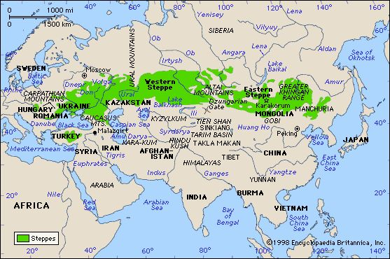 The steppe in eastern Europe and Asia - these grasslands made it easier for the Mongols to invade Russia.