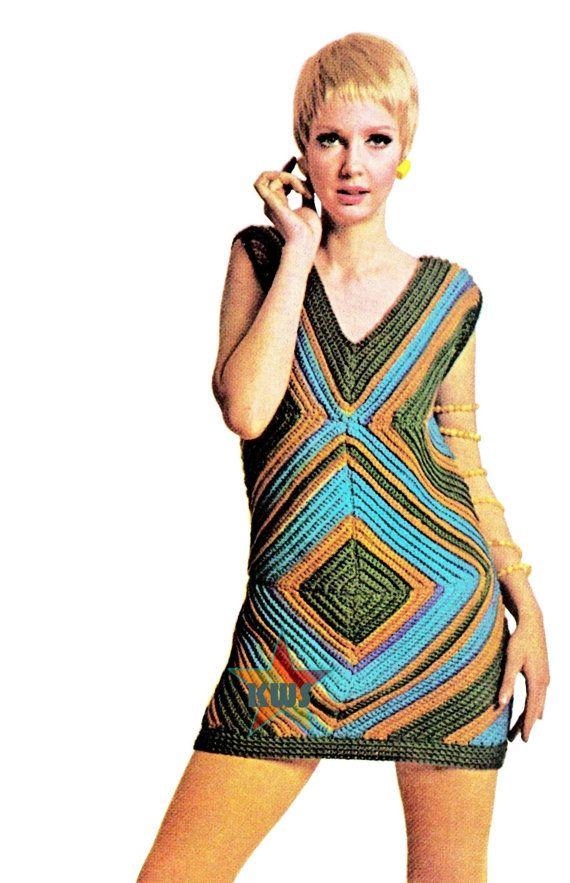 Vintage 60's Crochet MOD Mini Dress PDF Pattern  door KinzieWoolShop