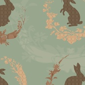 Jade Moon Rabbit - duck egg blue by bee, click to purchase fabric