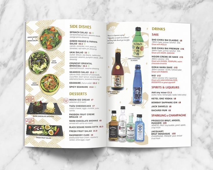 Japanese themed Takeaway Menu Design for UKAI Gastropub. Side dishes, desserts and sake page.