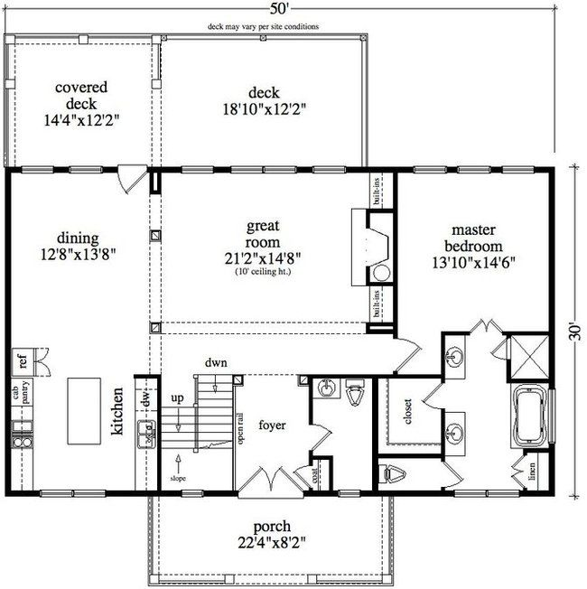 30 x 50 floor plan lot 6 house plans pinterest cabin for Vacation cabin floor plans