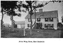 Wing Fort House is a historic house at Spring Hill Road in East Sandwich, MA, built in 1641. It is recognized as the oldest home in New England continuously owned by the same family. Stephen Wing obtained the property in 1646. His descendants continued to live in the home until 1942. I am descended from Deborah Bachiler Wing via her son John Wing (b. 1613, d. 1699), who had a brother named Stephen.