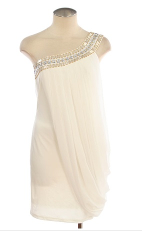 beaded one shoulder draped dress? Yes please. Stunning