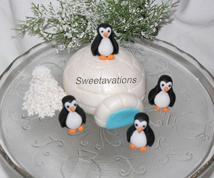 Fondant Penguin Cake Topper - Fondant Polar Bear - Penguin Cake - Penguin Party - Fondant Igloo - 1st Birthday - Birthday - Baby Shower by Sweetavations on Etsy