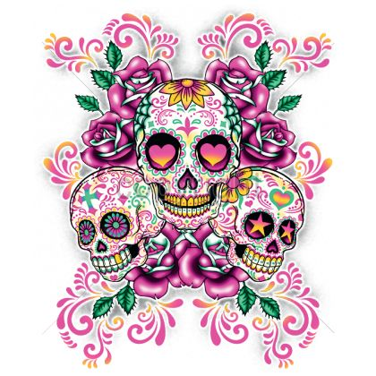 7X9  - 3 SUGAR SKULLS WITH FLORAL BACKGROUND - 3 skulls, Day of the Dead, dia de los muertos, ethnic, Fashion, latin, pink roses, Plastisol Transfer, sugar skull, Latin, Ethnic Cultures, Ladies Fashion, Pop Culture, GRAPHICS, COLORFUL