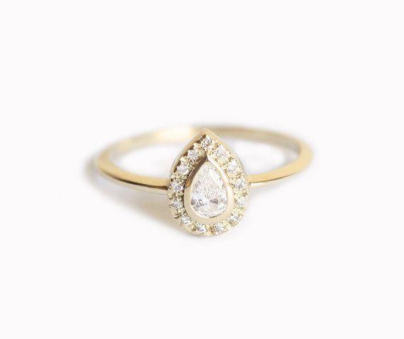 Halo Engagement Ring Pear Diamond Ring Diamond by MinimalVS