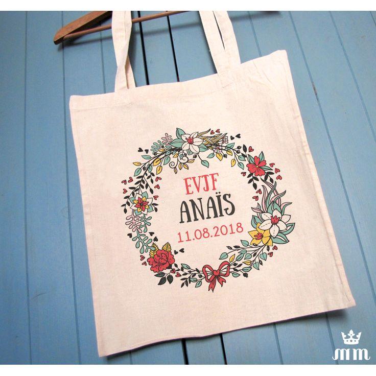 Tote bag EVJF Bouquet champêtre, cadeau idéal pour la future mariée et ses amis présentes pour l'enterrement de vie de jeune fille (EVJF)... Ce tote bag personnalisé est un souvenir original à conserver.
