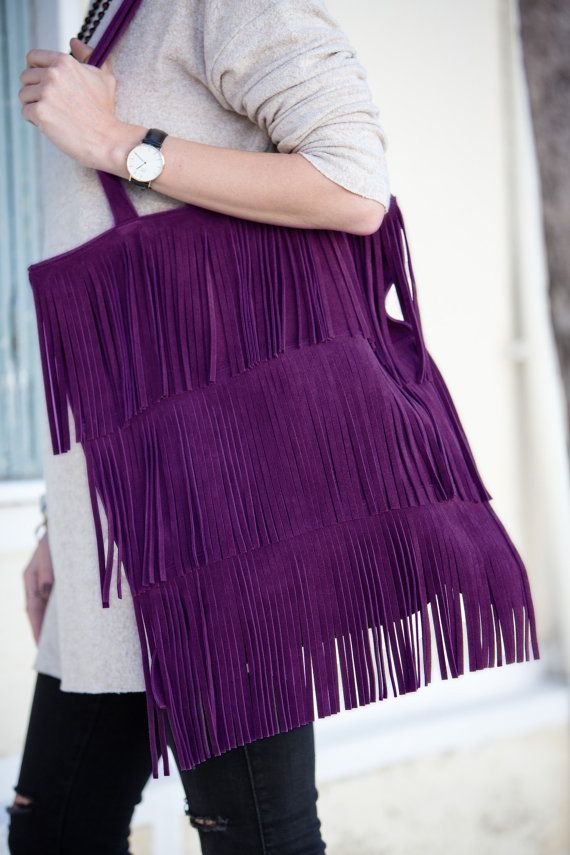 Suede leather tote with fringes in purple by byCACHE on Etsy