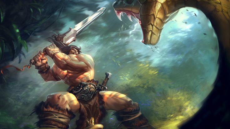 Скачать обои огромная, змея, меч, схватка, конан варвар, двуручный, джунгли…